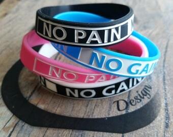 Silicon Bracelet Wristband No Pain No Gain.Coach Gift,Bodybuilding,Fitness,MotivationGym,Coach Gift,Wod,Fitness gift,Motivation Wod Sport