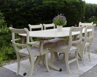 NOW SOLD ****Very Large, Vintage Dining Table & 6 Chairs. Shabby Chic, Pale Cream.
