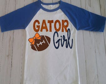 Gator Girl Football Shirt/Toddler Football Shirt/Toddler Gator Football Shirt/Florida Gator Shirt/Raglan Gator Shirt/Toddler Gator Girl Top