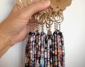 Paper Bead Tassel Keychain. Keychains for women. Tassel key ring. Haitian crafts. Gifts under 10. Gifts for new drivers. Gifts for mom.