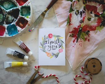 Thank You Card - Floral Wreath