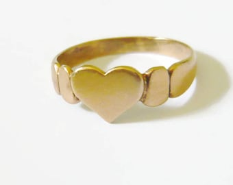 VICTORIAN 9kt Rose Gold Heart Ring | Antique Rose Gold Ring | Rosy Gold Heart | Heart Stacking Ring | Gold Stacking Ring
