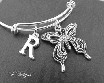 Butterfly Bangle, Personalised Butterfly Jewellery, Personalised Letter Bracelet, Gifts for Her