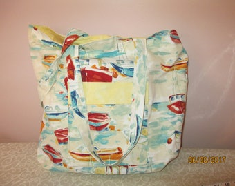Sailboat Tote Bag with Pockets and Magnetic Snap