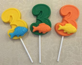 "NUMBER THREE ""FISH"" Chocolate Lollipop (12 qty) Fishing/Third Birthday/Fishing Party/Fish Lollipop/Number 3 Lollipop/Party Favor/Bass Fish"