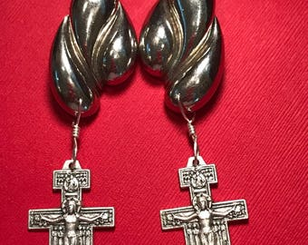 Vintage Silver Metal Post Earrings with Italian San Damiano Cross Medals