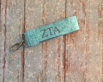 Zeta Tau Alpha Keychain; Personalized ZTA Sorority Keychain; ZTA Key Fob; Zeta Tau Alpha Gift; ZTA big little; Zeta Sorority