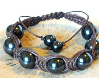 Shungite bracelet , Macrame bracelet, Natural beads bracelet emf protection