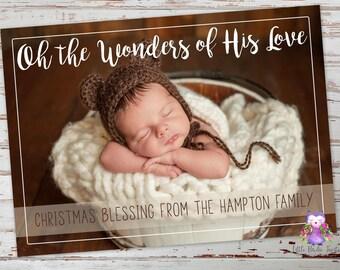Oh The Wonders Of His Love Christmas Card | Religious Christmas Card | Christian Christmas Card | Photo Christmas Card | Printable Card