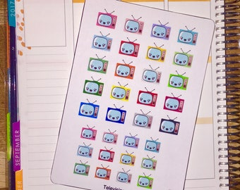 Kawaii Rainbow Television Planner Stickers (w/ Mini's!) for use with Erin Condren Life Planner and other planners