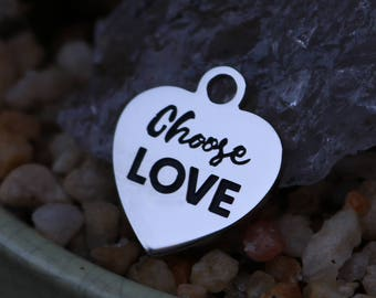 set of 4, choose love, word charms, heart charms, stainless steel, disc charms, 20mm heart, love charms