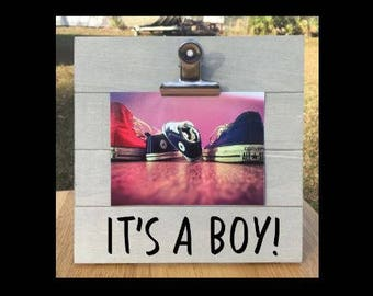 It's a Boy! - Pregnancy Announcement Gender Reveal clip frame. We're expecting twins/triplets/baby surprise gift pregnant ultrasound
