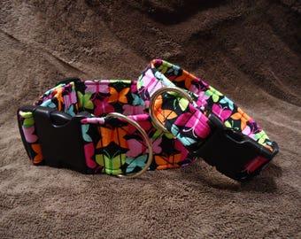 Dog Collar Colorful Butterflies Girl Dog Collar Dog Fabric Collar Dog Fabric Buckle Collar Dog Fabric Martingale Collar