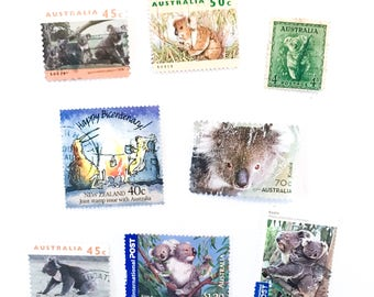 8 x Koala used Australian postage stamps - Australia, off paper, all different for collage, stamp collecting, decoupage