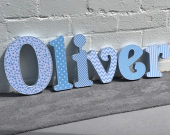 blue wooden letters~baby boy nursery decoration~baby shower letters~wall hanging~free standing~chevron~stars~stripes~dots~blue white letters