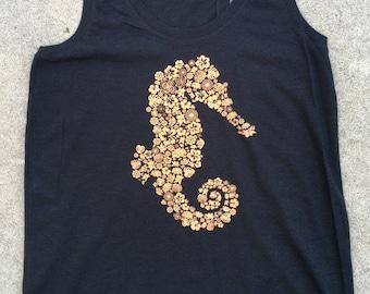 Seahorse flowers women's racerback tank top, tri blend, black,**free shipping**