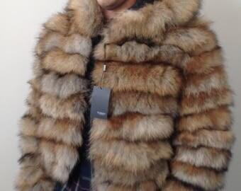 Bomber Men coat jacket   fur  fox