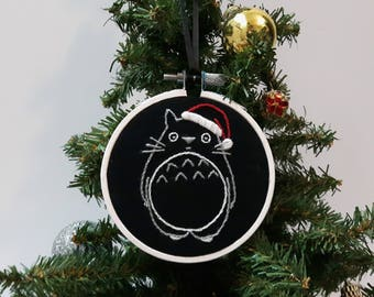 Hand embroidered Christmas ornament. My Neighbor Totoro. Hayao Miyazaki Studio Ghibli. Nerdy gifts. Anime gift. Cute Xmas tree decorations