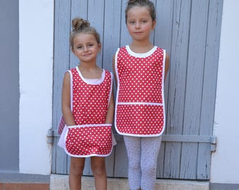 Girls 2-4 years Cotton Art Smock Red with White Polka Dot Painting Apron Tablier Maternelle Ecolier Fille Petit Pois Rouge avec Blanc 2-4 An