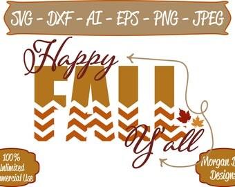 Happy Fall Y'all SVG - Fall SVG - Chevron Fall svg - Pumpkin SVG - Autumn - Fall Clip Art - Files for Silhouette Studio/Cricut Design Space
