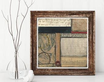GOSPEL HOUSE mixed media abstract collage, original art, wall art, vintage papers