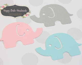 Baby Shower Confetti, 25 Elephant Confetti, Pink Blue Gray, Pink Confetti, Blue Confetti, Baby Shower Decor, Gray Confetti, Baby Elephant