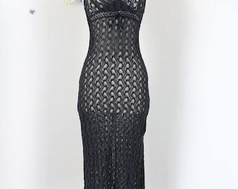 1990s Crochet Knit Midi Dress - XS/S - Black - Boho - Sexy - Fitted - Body Con - Hippie - Crochet Dress - Party Dress - Evening Dress