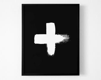 Paint strokes ,wall art, Printable Swiss Cross  Artwork, Brush Cross Artwork, Brushstroke Art,Contemporary Art, Black and White Abstract Art