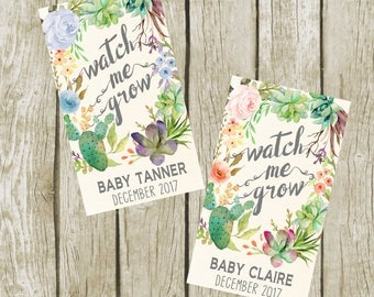 Watch Me Grow Tags. Baby Shower Succulent Favor Tags, Digital File, Succulent Favors Baby Shower Tags. Baby Shower Favors. Blue Succulent.