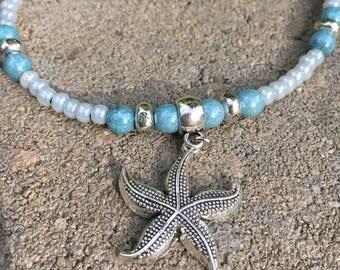 Ankle Bracelet, Beach Anklet, Anklet, Starfish Anklet, Beach Jewelry, Ankle Jewelry, Beaded Anklet, Womans Anklet