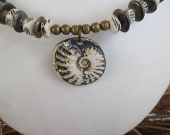 FOSSIL ceramic - black and white - Choker - FRANCE