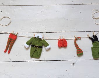 Christmas Garland - Elf's Laundry - Hand Knitted Washing Line - Hanging Christmas Decoration