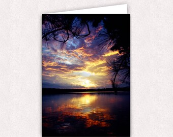 Mississippi Sunset Note Cards 5x7 Blank Note Card with envelopes Landscape Sunset photography Greeting Cards