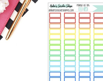 Rainbow or Black Skinny .75 inch Box Memo Stickers Planner