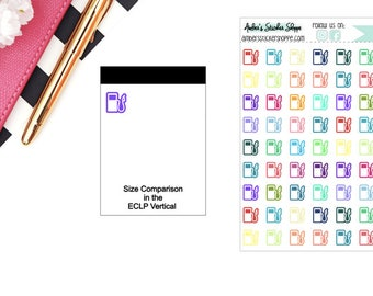 Multicolored or Black Mini Gas Pump Icon Planner Stickers