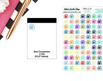 Multicolored or Black Mini TV Television Icon Planner Stickers