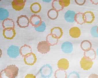 Cotton fabric printed polka dots and colorful circles