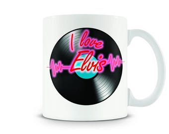 I love Elvis - Retro LP Mug. Fully Personalised with any band or artists