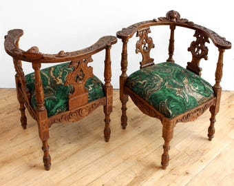 SALE Vintage Carved Oak Green Arm Chairs- Library, Corner Chair, Renaissance Revival Style, Settee, Marble