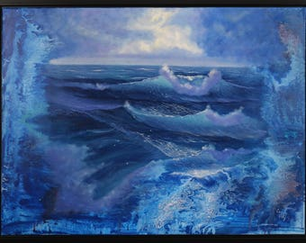Large Ocean Painting, Modern Art, Framed Seascape Painting, Ocean Waves, Blue Contemporary Painting, Huge Living Room Art