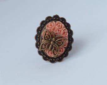butterfly cameo retro ring bague vintage camée papillon et roses victorien
