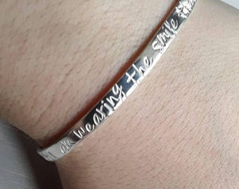 Cuff bracelet, sterling silver bangle, hand stamped bangle, personalised jewellery