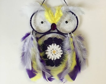 Purple and Yellow Owl with Doily  Dreamcatcher