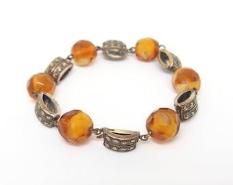 Marcasite Panel Bracelet Orange Glass Marbled Two Tone Beads Link 1950s Cocktail Bracelet UK Seller