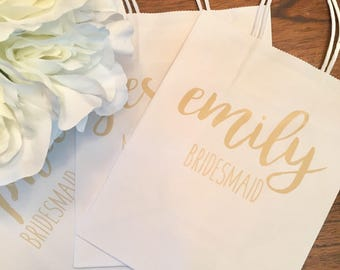 Personalized bridesmaid gift bag rose gold gift bag bride wedding bachelorette gift bag wedding favor bags custom gift bags bridesmaid gift