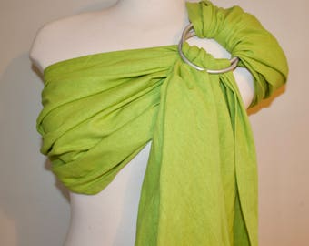 Green Linen Ring Sling  - Baby Carrier -  Ring Sling - Baby Sling - Linen Ring Sling - 100% Linen Ring Sling - Newborn Essentials - Canadian