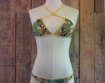 Yellow Floral Lingerie Set, Strappy Lingerie Set, Floral lingerie