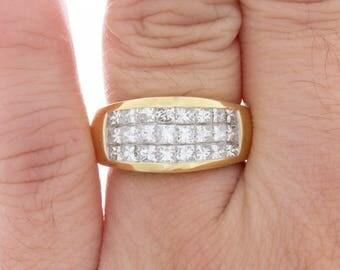 2.11 carat Princess Cut Diamond Wedding Band in 18k Yellow Gold