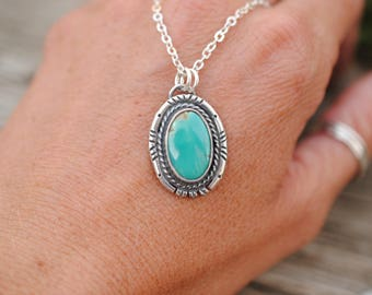 Western Style Turquoise Pendant | Necklace | Sterling Silver