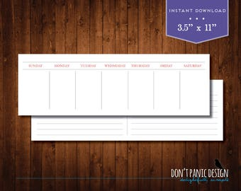 Printable Perpetual Weekly Calendar Planner - Simple Red Gray Instant Download